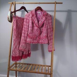 Co-ord Pink Tweed Blazer / Midi Skirt Set Suit S
